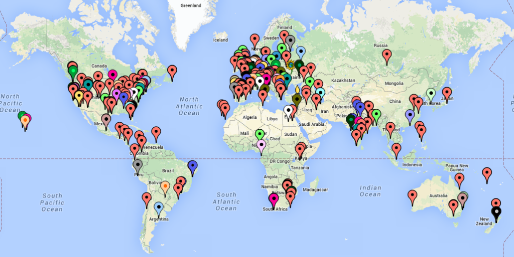 Map of participants' locations