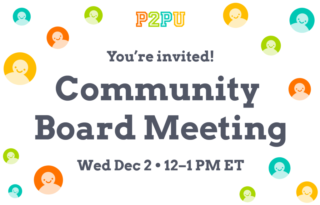 "Graphic image containing floating smiley faces and the text: ""You're invited! Community Board Meeting, Wed Dec 2 12–1PM ET"""
